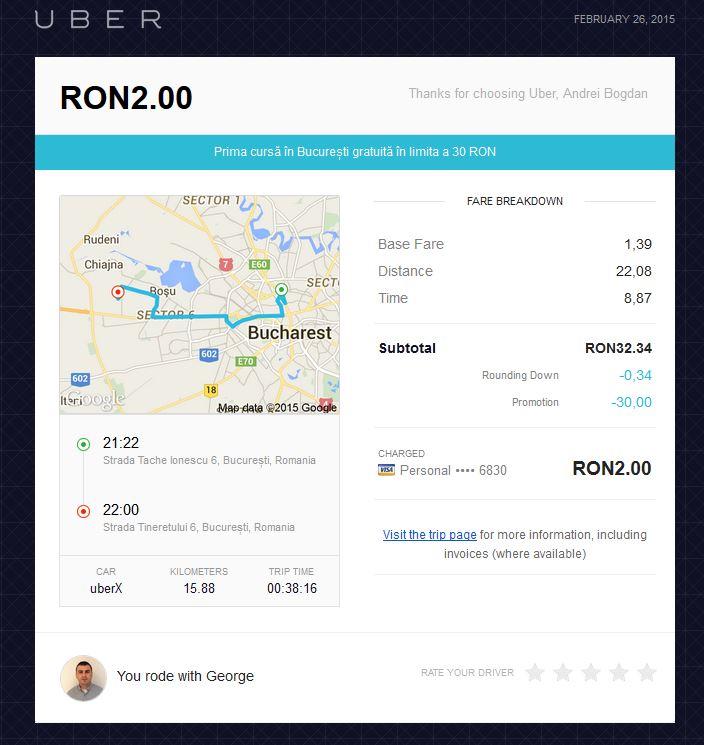 Prima plimbare cu Uber prin București. Vezi cum a fost pe blogul lui Ceauru